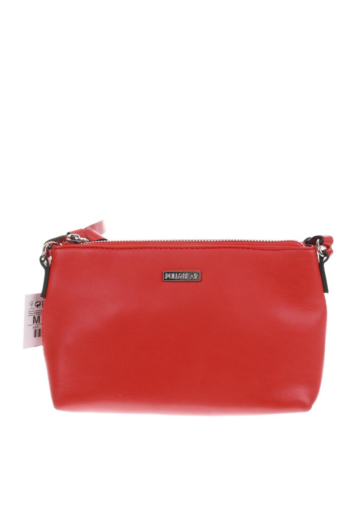 Дамска чанта Pull&Bear, Цвят Червен, Еко кожа, Цена 29,25лв.
