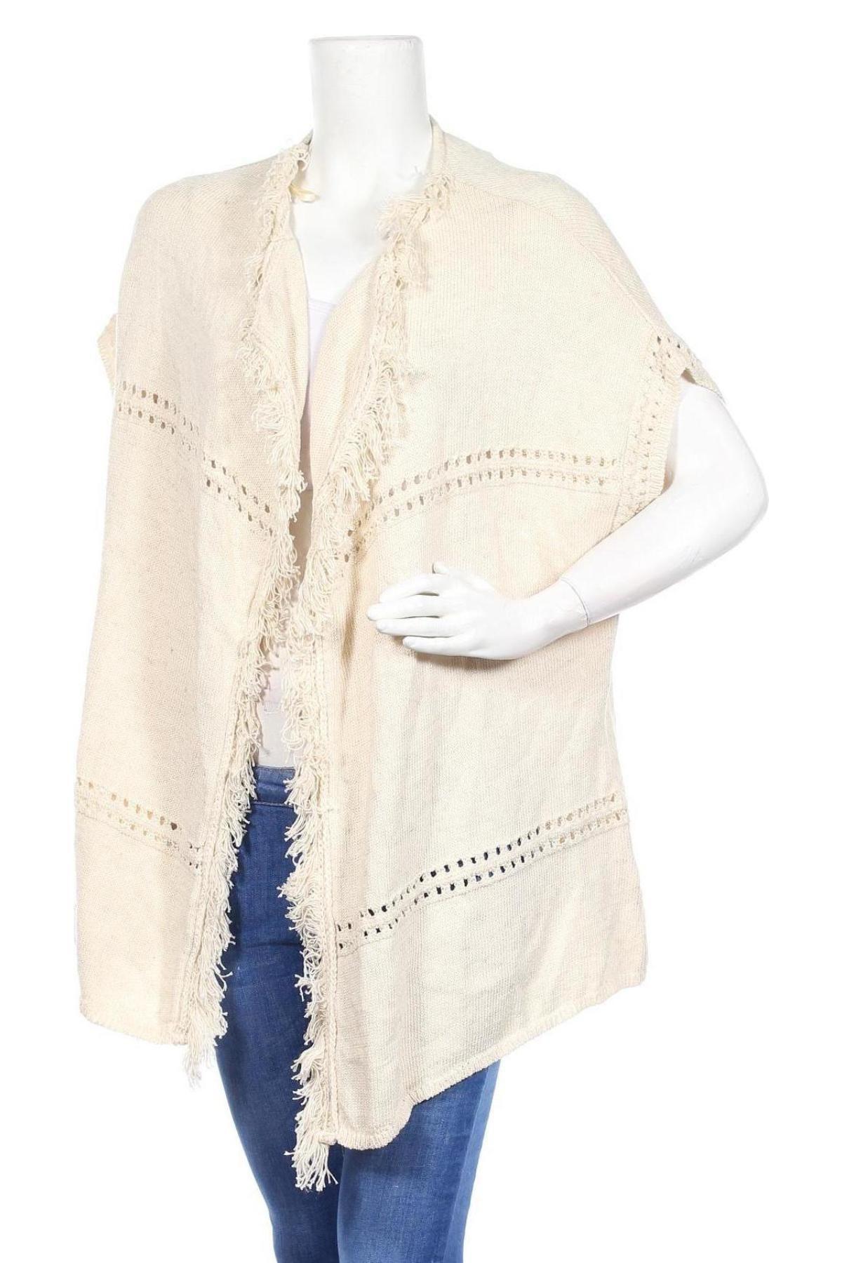 Дамска жилетка Camaieu, Размер XL, Цвят Бежов, 78% памук, 20% акрил, 2% лен, Цена 21,12лв.