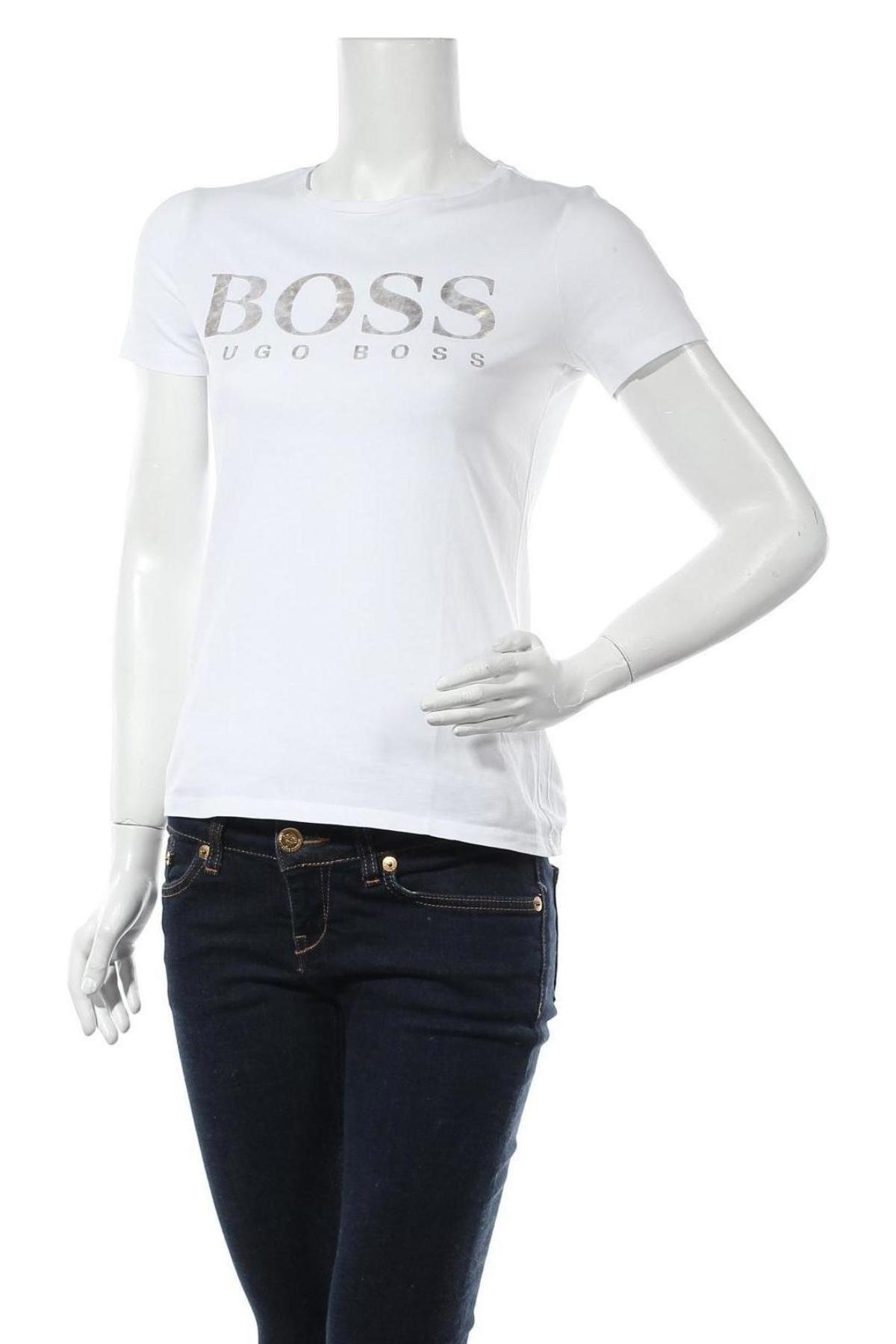 Дамска тениска Boss, Размер XS, Цвят Бял, Памук, Цена 94,52лв.