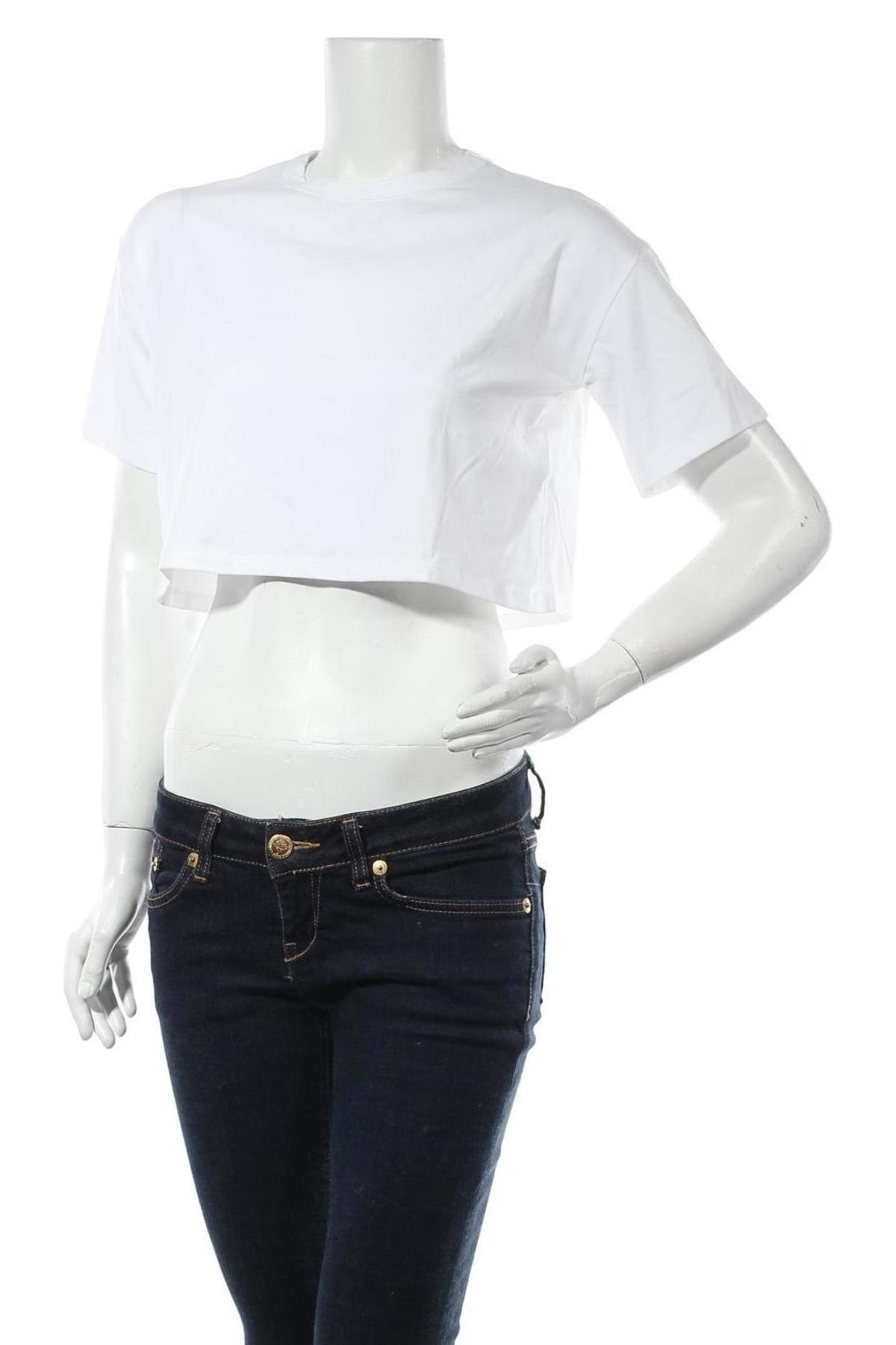 Дамска тениска NU-IN, Размер XS, Цвят Бял, 64% лиосел, 32% памук, 4% еластан, Цена 19,60лв.