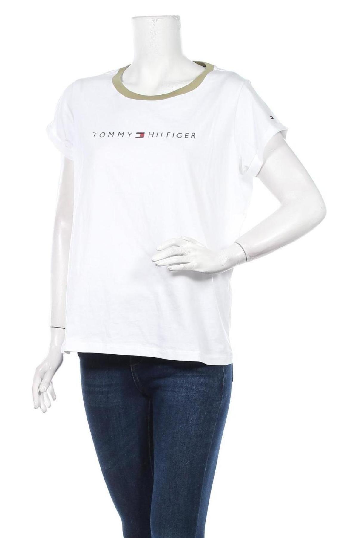Дамска тениска Tommy Hilfiger, Размер L, Цвят Бял, Памук, Цена 79,00лв.