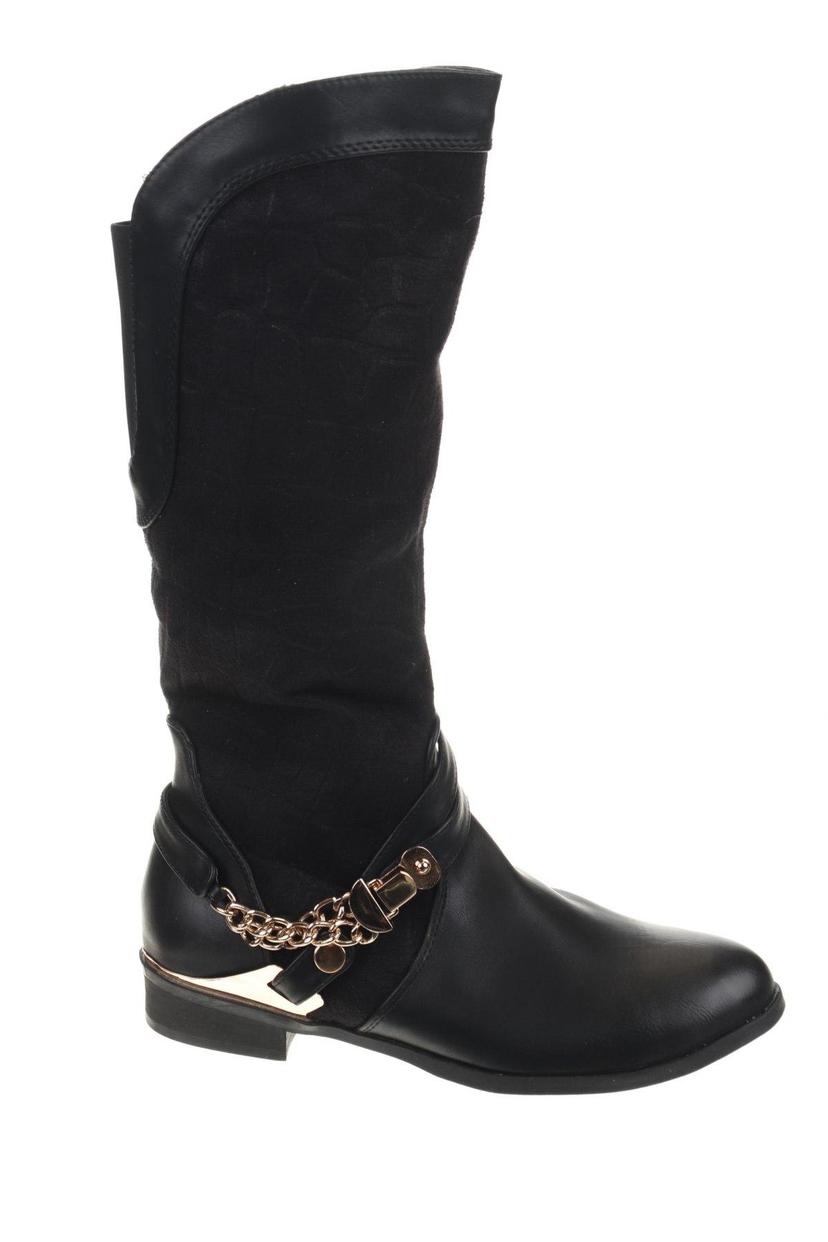 Γυναικείες μπότες La Bottine Souriante, Μέγεθος 38, Χρώμα Μαύρο, Κλωστοϋφαντουργικά προϊόντα, δερματίνη, Τιμή 12,37€