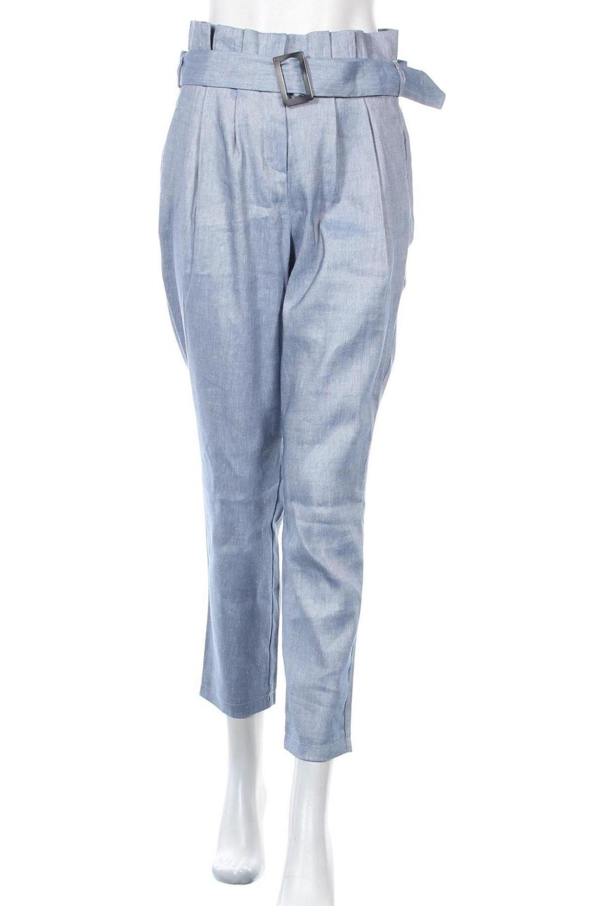 Дамски панталон Sienna, Размер S, Цвят Син, 53% лен, 30% полиестер, 15% вискоза, 2% еластан, Цена 27,36лв.