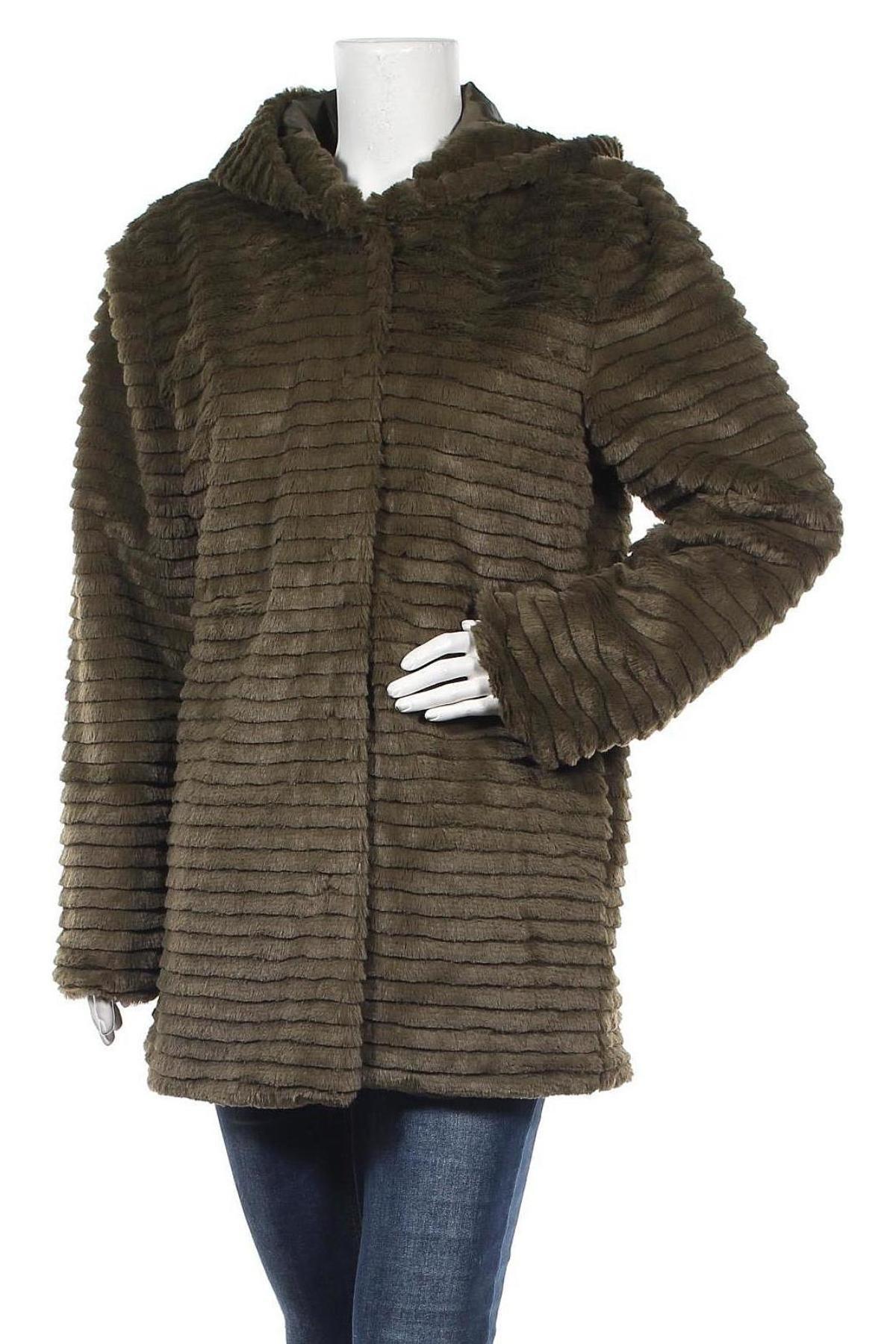 Дамско палто Aniston, Размер L, Цвят Зелен, Полиестер, Цена 46,40лв.