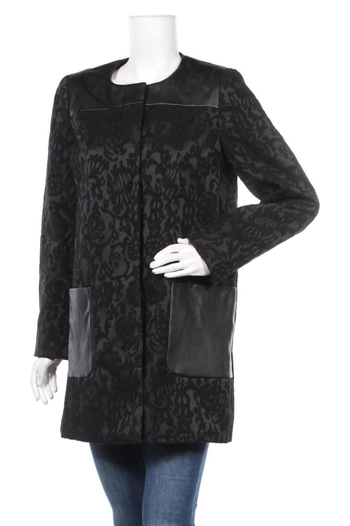 Дамско палто Balsamik, Размер L, Цвят Черен, 50% полиестер, 45% вълна, 5% полиамид, еко кожа, Цена 52,46лв.