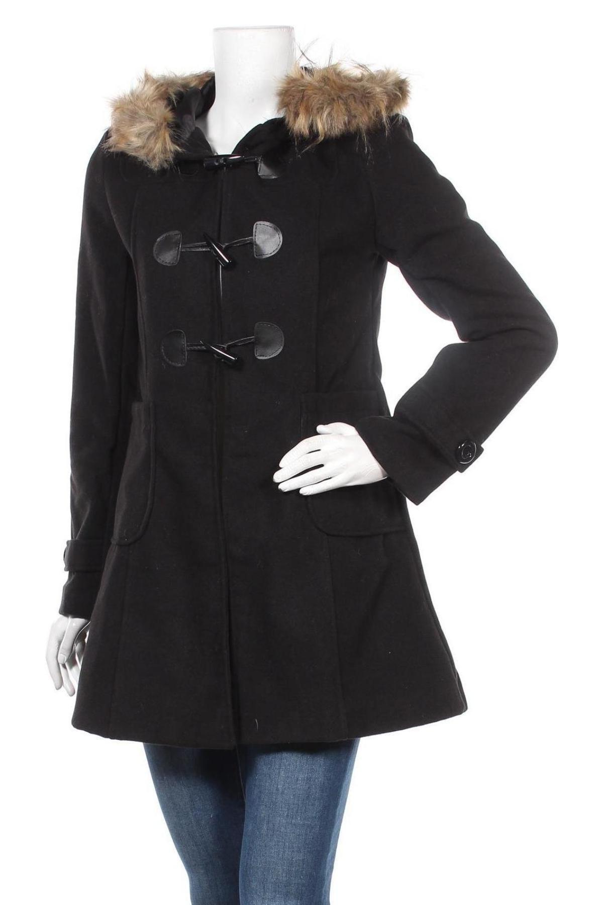 Дамско палто Made In Italy, Размер S, Цвят Черен, 90% полиестер, 10% вълна, Цена 32,67лв.