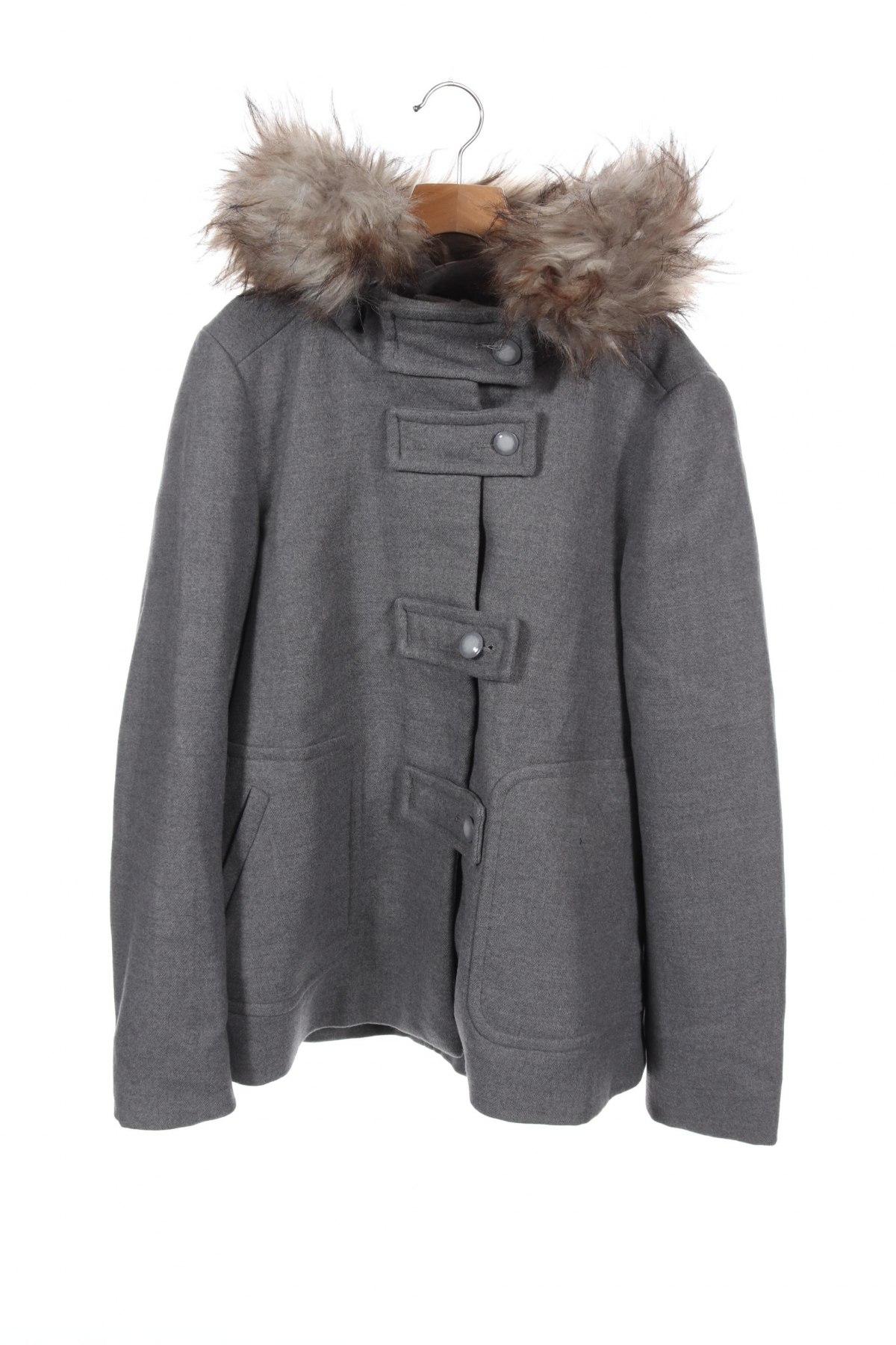 Дамско палто Zara, Размер XS, Цвят Сив, 80% полиестер, 20% вискоза, Цена 111,75лв.