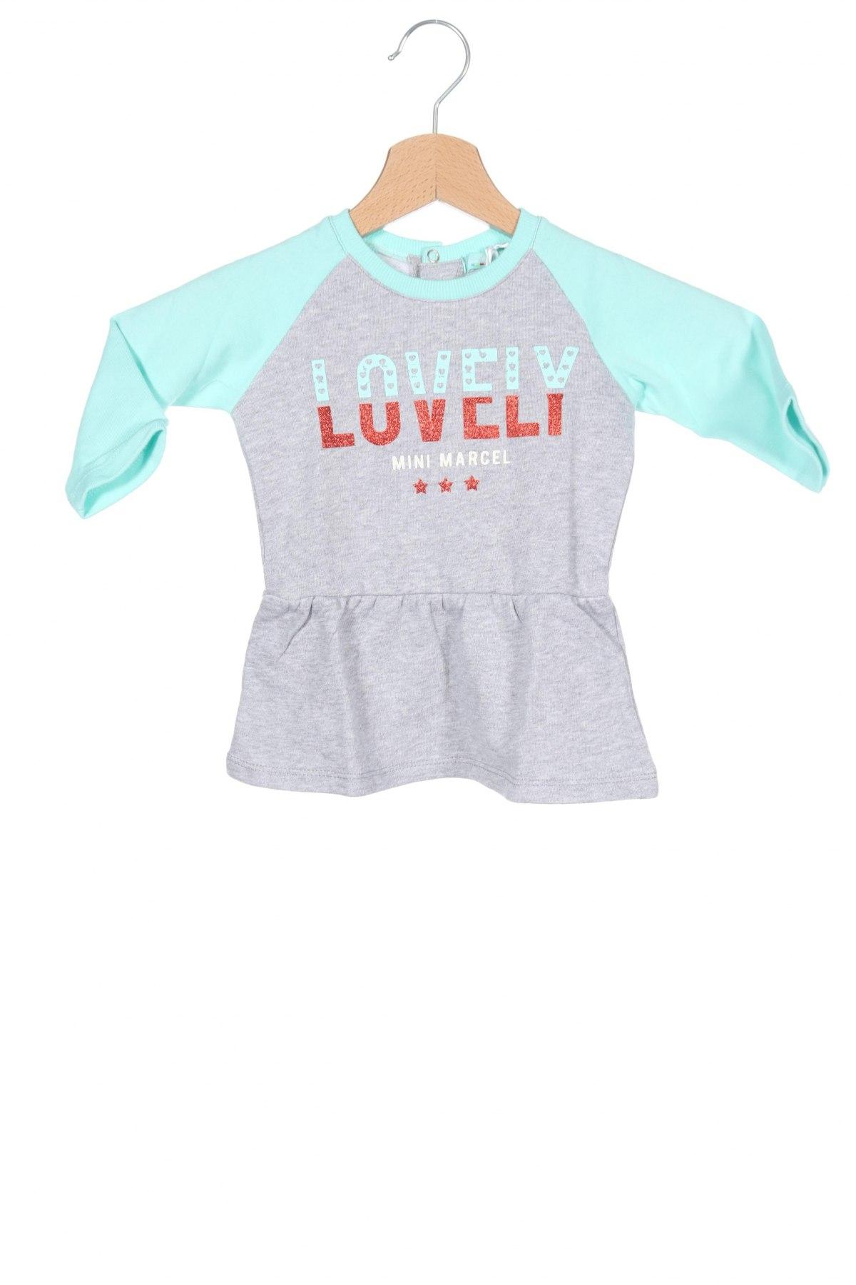 Παιδικό φόρεμα Mini Marcel, Μέγεθος 9-12m/ 74-80 εκ., Χρώμα Γκρί, Βαμβάκι, Τιμή 6,80€