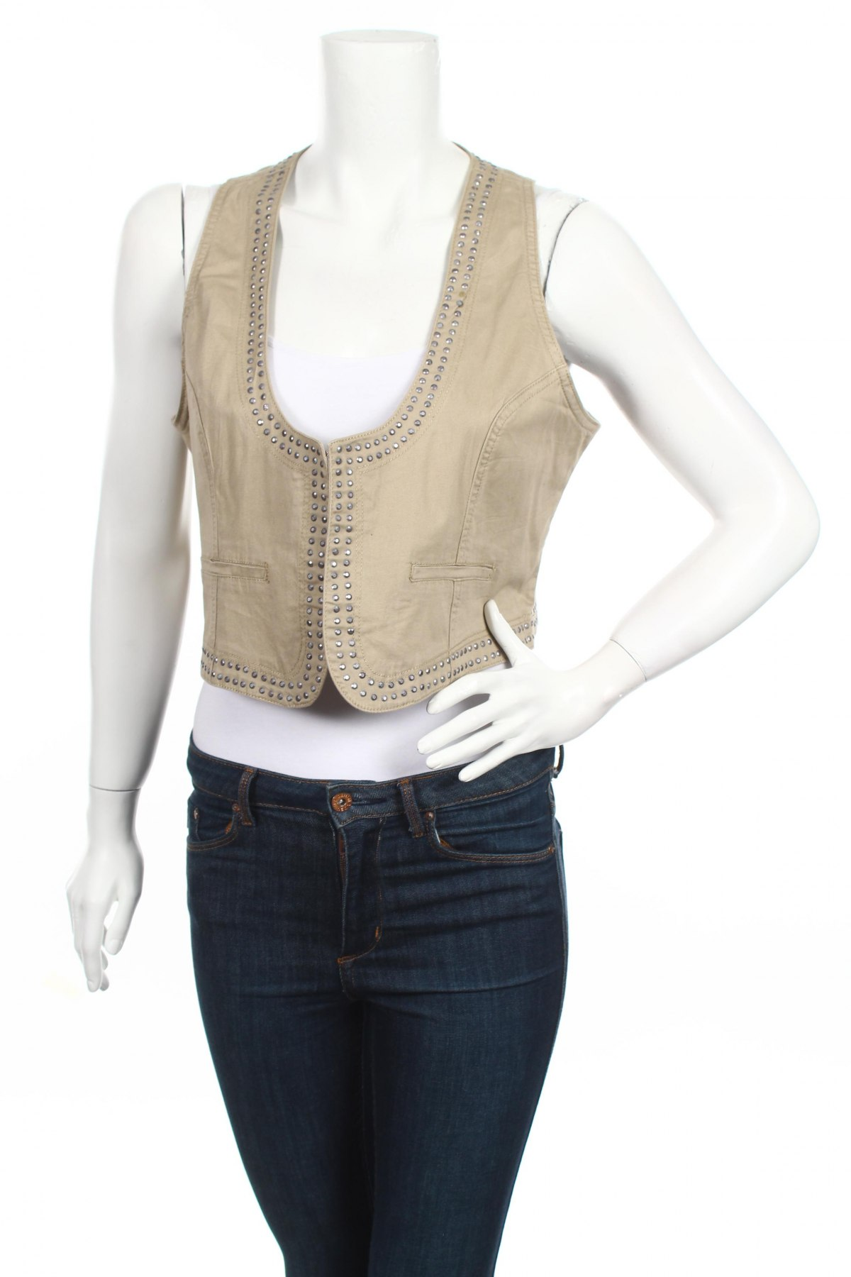 Дамски елек Gina Benotti, Размер XL, Цвят Бежов, 98% памук, 2% еластан, Цена 19,55лв.