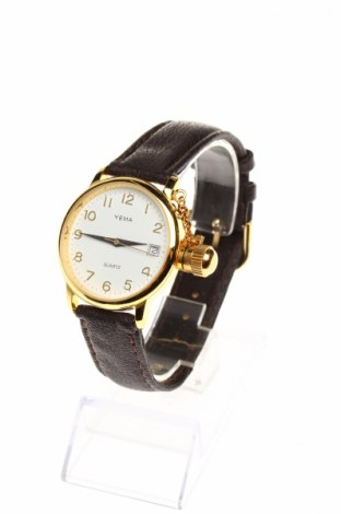 Zegarek Yema, Kolor Brązowy, Skóra naturalna, metal, Cena 222,27zł