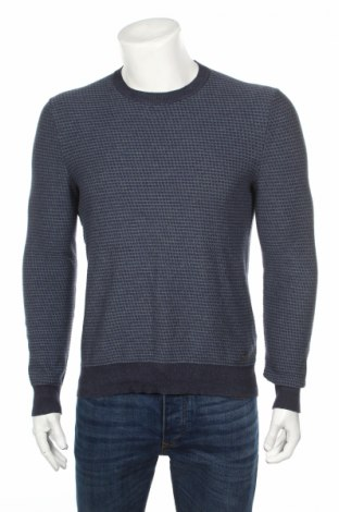 Мъжки пуловер Hugo Boss, Размер M, Цвят Син, 83% памук, 17% вълна, Цена 141,75лв.