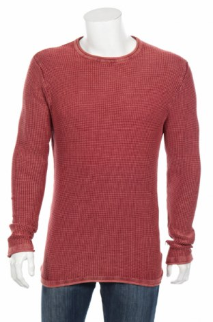 Мъжки пуловер Rebel, Размер M, Цвят Червен, Памук, Цена 13,34лв.