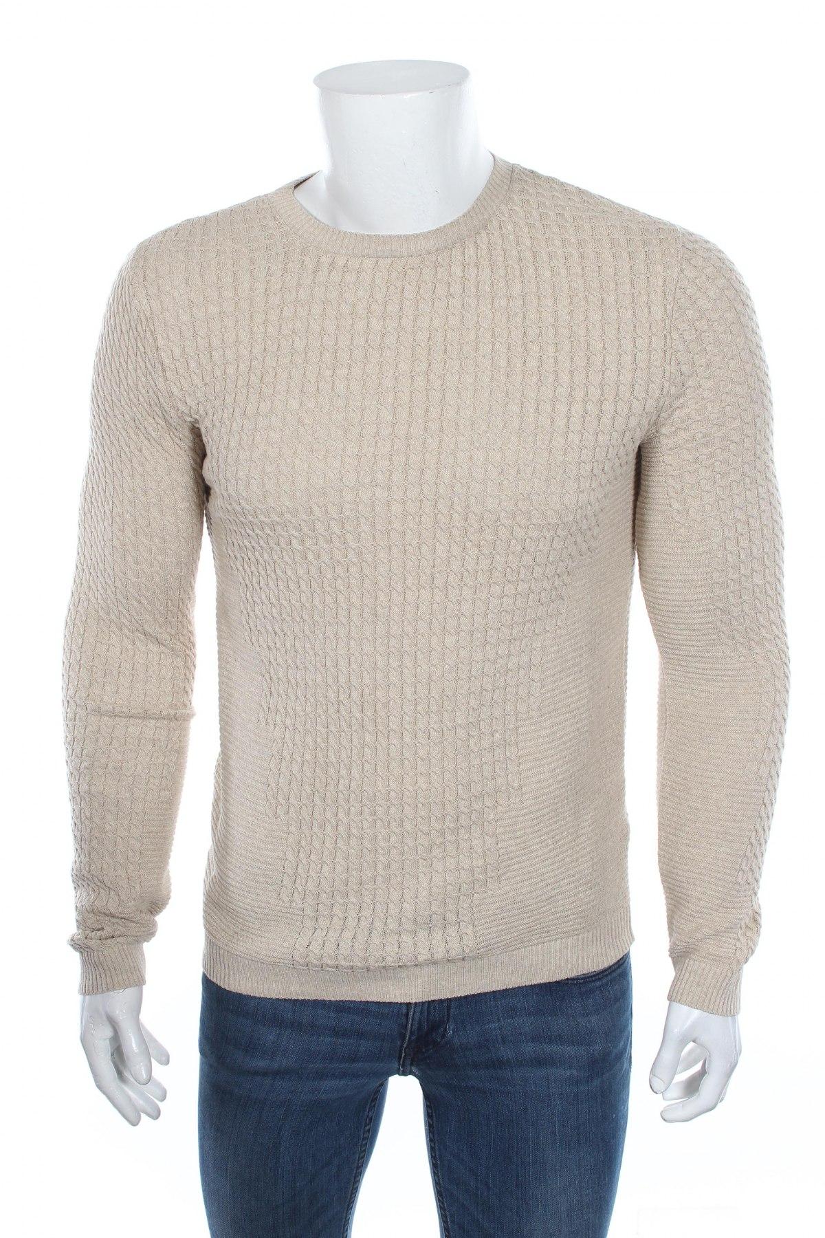 Мъжки пуловер Asos, Размер M, Цвят Бежов, 53% памук, 47% акрил, Цена 58,50лв.