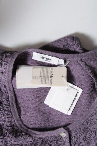 Дамска жилетка Myrine, Размер S, Цвят Лилав, 80% памук, 20% еластан, Цена 15,34лв.