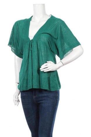 Дамска жилетка Stefanel, Размер L, Цвят Зелен, 90% лен, 10% полиамид, Цена 17,64лв.