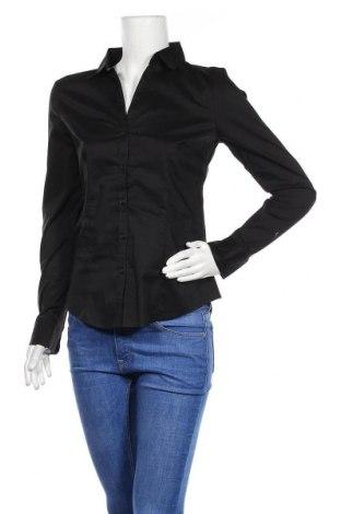 Дамска риза H&M, Размер M, Цвят Черен, 73% памук, 23% полиамид, 4% еластан, Цена 14,28лв.