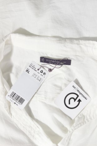 Дамска риза Violeta by Mango, Размер XL, Цвят Бял, Памук, Цена 26,55лв.