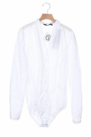Дамска риза-боди Nife, Размер S, Цвят Бял, 60% памук, 40% полиестер, Цена 46,50лв.