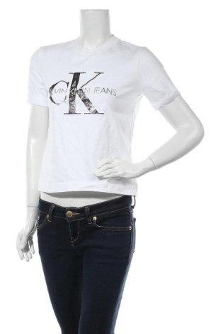 Дамска тениска Calvin Klein Jeans, Размер M, Цвят Бял, Памук, Цена 51,46лв.