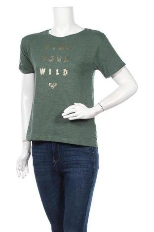 Дамска тениска Roxy, Размер XS, Цвят Зелен, 60% памук, 40% полиестер, Цена 36,75лв.