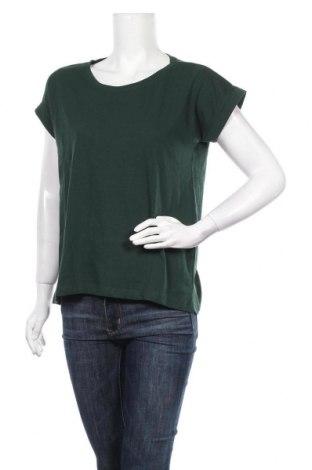 Дамска тениска Vila, Размер S, Цвят Зелен, 50% памук, 50% полиестер, Цена 25,60лв.