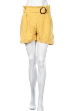 Γυναικείο κοντό παντελόνι New Look, Μέγεθος XL, Χρώμα Κίτρινο, 69% βισκόζη, 31% λινό, Τιμή 10,38€
