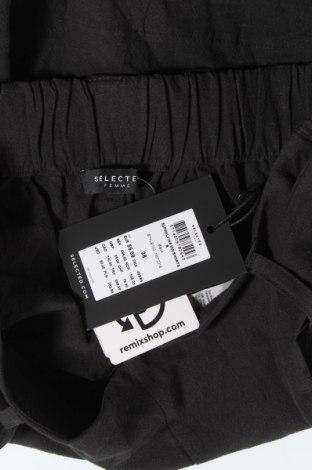 Γυναικείο κοντό παντελόνι Selected Femme, Μέγεθος M, Χρώμα Μαύρο, 45% βαμβάκι, 55% λινό, Τιμή 21,58€