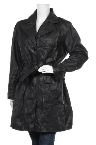 Дамски кожен шлифер C&A, Размер XL, Цвят Черен, Естествена кожа, Цена 23,89лв.