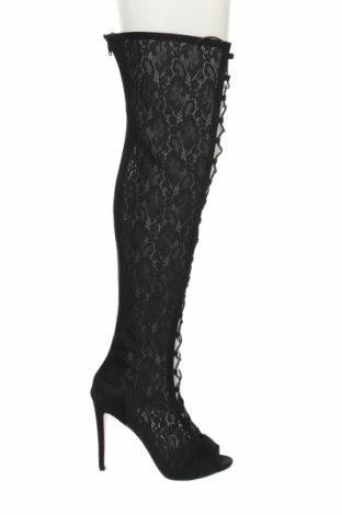 Дамски летни ботуши, Размер 40, Цвят Черен, Текстил, Цена 49,50лв.