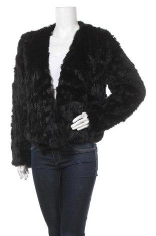 Дамско кожено палто, Размер M, Цвят Черен, Естествен косъм, Цена 140,12лв.