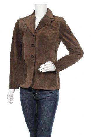 Дамско кожено сако Banana Republic, Размер XS, Цвят Зелен, Естествен велур, Цена 18,90лв.