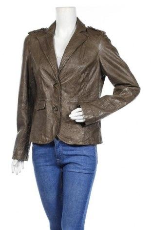 Дамско кожено сако Oui, Размер M, Цвят Зелен, Естествена кожа, Цена 58,91лв.