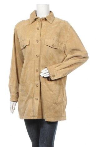 Дамско кожено яке, Размер L, Цвят Бежов, Естествен велур, Цена 15,54лв.