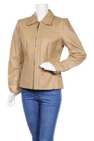 Дамско кожено яке, Размер M, Цвят Бежов, Естествена кожа, Цена 82,22лв.
