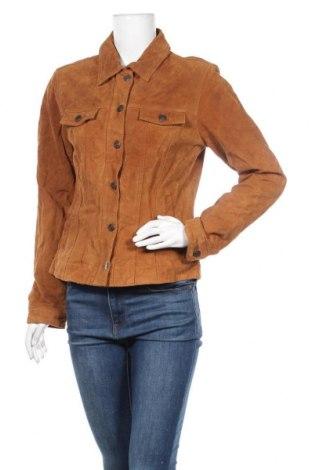 Дамско кожено яке, Размер M, Цвят Кафяв, Естествен велур, Цена 18,48лв.