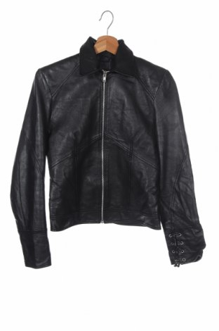 Дамско кожено яке, Размер XS, Цвят Черен, Естествена кожа, Цена 36,96лв.