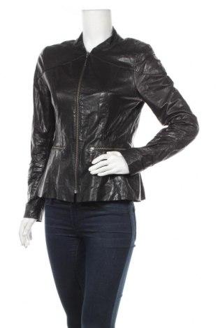 Дамско кожено яке, Размер M, Цвят Черен, Еко кожа, Цена 88,78лв.