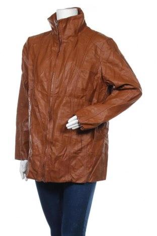 Дамско кожено яке, Размер XL, Цвят Кафяв, Еко кожа, Цена 33,92лв.