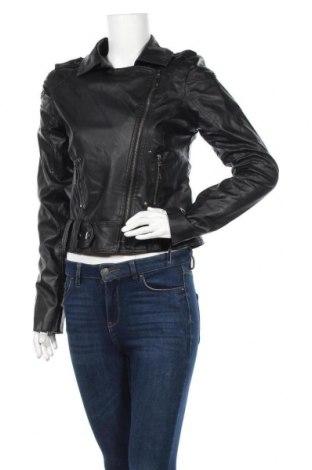 Дамско кожено яке, Размер L, Цвят Черен, Еко кожа, Цена 31,08лв.