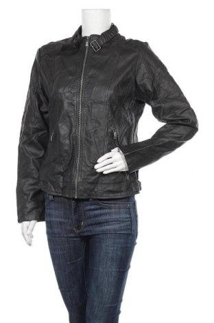 Дамско кожено яке, Размер M, Цвят Сив, Еко кожа, Цена 21,22лв.