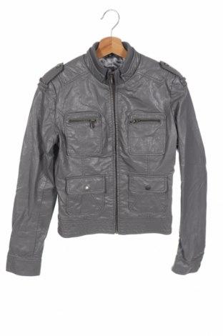 Дамско кожено яке, Размер XS, Цвят Сив, Еко кожа, Цена 21,42лв.