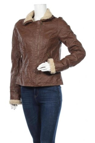 Дамско кожено яке Colours Of The World, Размер M, Цвят Кафяв, Еко кожа, Цена 13,61лв.