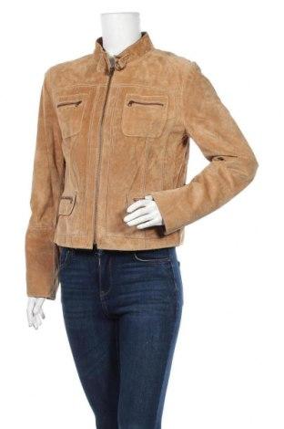 Дамско кожено яке DKNY, Размер M, Цвят Бежов, Естествен велур, Цена 21,84лв.