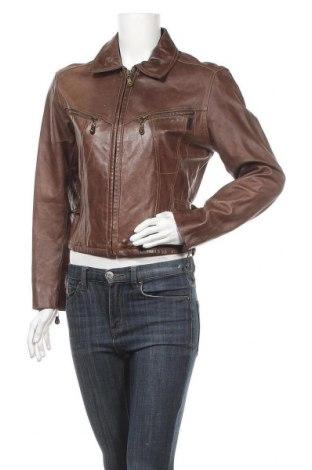 Дамско кожено яке Guess, Размер S, Цвят Кафяв, Естествена кожа, Цена 95,76лв.