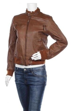 Дамско кожено яке H.i.s, Размер M, Цвят Кафяв, Естествена кожа, Цена 53,24лв.