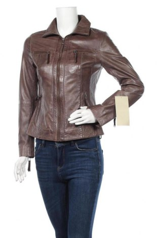 Дамско кожено яке H.i.s, Размер S, Цвят Кафяв, Естествена кожа, Цена 224,25лв.