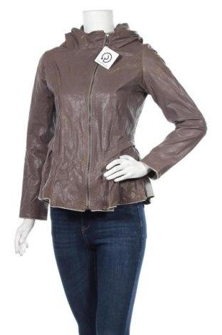 Дамско кожено яке Kor@Kor, Размер M, Цвят Сив, Естествена кожа, Цена 112,72лв.