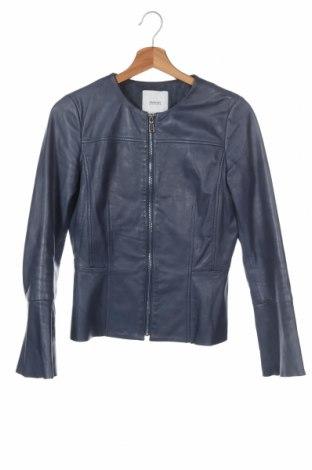 Дамско кожено яке Mango, Размер XS, Цвят Син, Естествена кожа, Цена 55,78лв.