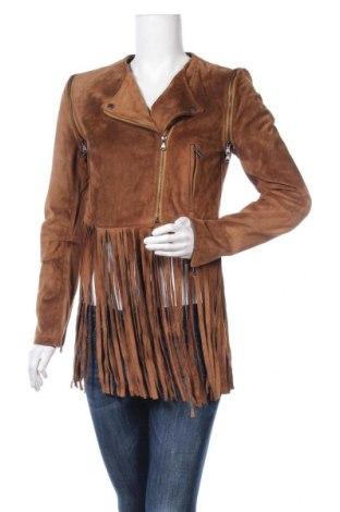 Дамско кожено яке Please, Размер M, Цвят Кафяв, Естествен велур, Цена 167,27лв.