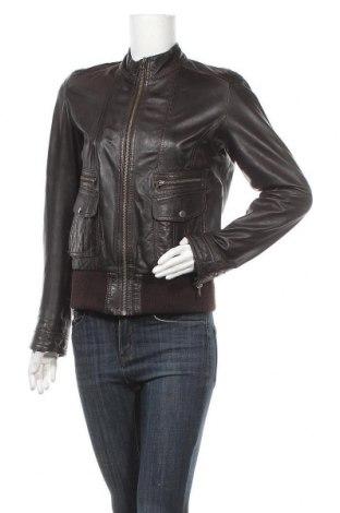 Дамско кожено яке Tom Tailor, Размер M, Цвят Кафяв, Естествена кожа, Цена 58,91лв.